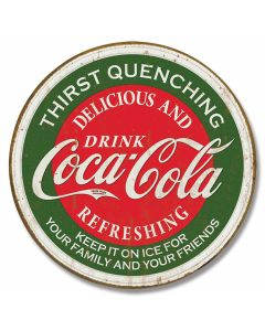 "Coke ""Thirst Quenching"" Round Tin Sign"