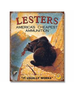Lester's Cheap Ammunition Tin Sign