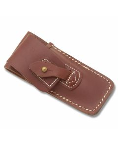 """Brown Leather Sheath with Tab and Stud Closure fits Folding Knives up to 5"""" Closed"""