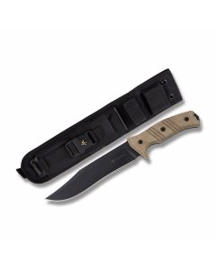 "Steel Will Cheiftain with Green Micarta Handles and Black Traction Coated 1095 Carbon Steel 7.48"" Clip Point Plain Edge Blade and Nylon Sheath Model 1610"