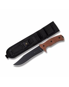 "Steel Will Cheiftain with Terracotta Micarta Handles and Black Traction Coated 1095 Carbon Steel 7.48"" Clip Point Plain Edge Blade and Nylon Sheath Model 1620"