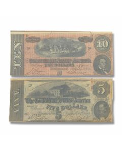 Confederate Government Circulated Currency $5 and $10 Note