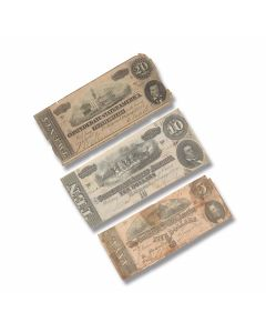 Set Of 3 Genuine Confederate Government Circulated Currency
