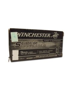 Winchester Super Suppressed 9mm Luger 147 Grain Full Metal Jacket 50 Rounds