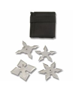 """4pc Stainless Steel Assorted Throwing Stars with Pouch  - 3-5/8"""" Diameter"""