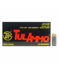 TulAmmo 40 S&W 180 Grain Full Metal Jacket 50 Rounds