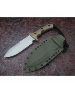 Treeman handmade Knives LRRP model with 5.375 inch high carbon steel double edge blade single hilt guard with durable natural canvas micarta