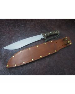 Treeman handmade Knives Machete with 12 inch high carbon steel blade single hilt guard with durable camo G-10 handles