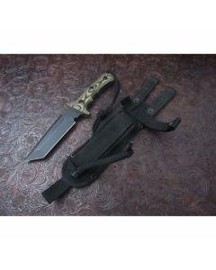 Treeman handmade Knives Ultra Phalanx model with 5.125 inch high carbon steel blade single hilt guard with durable camo G-10 handles