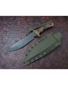 Treeman handmade Knives original Bowie with 7 inch high carbon steel blade double hilt guard with durable multi-color G-10 handles