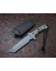 Treeman handmade Knives Ultra Phalanx model with 6 inch high carbon steel blade single hilt guard with durable light and dark gray G-10 handles