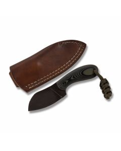 Todd Hunt custom Foxkit knife green and black G-10 handles with 2.625 inch O1 tool steel skinning style blade