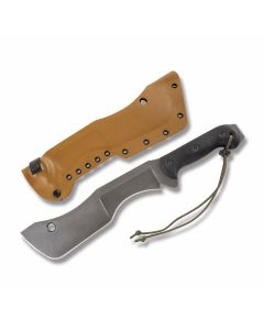 Todd Hunt M18 with Black Micarta Handles and 59RC Steel Custom Plain Edge Blades and Brown Kydex Sheath