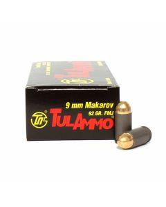 TulAmmo 9x18 Makarov 92 Grain Full Metal Jacket 50 Rounds