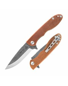 "TOPS Mini Scandi Folder 4.0 with Tan Canvas Handle and 3.25"" N690Co Steel Blade Model MSF 4.0"