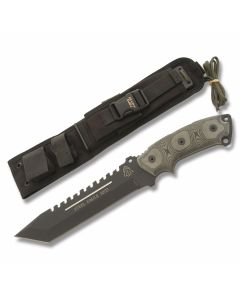 "TOPS Steel Eagle Series with Black Linen Micarta Handles and Black Traction Coated 1095 Carbon Steel 7"" Tanto Plain Edge Blade Model SE107D"