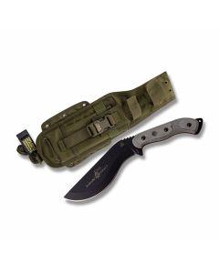 "Tops Bushcrafters Kukri 7 Fixed Blade Knife with Black Linen Micarta Handle and Black Traction Coated 1095 Carbon Steel 7.375"" Kukuri Plain Edge Blade and OD Green Nylon Belt Sheath Model BKUK-01"