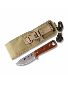 "Tops CUB Fixed Blade Knife with Tan Canvas Handle and Bead Blast Finish 1095 Carbon Steel 3.625"" Drop Point Plain Edge Blade Model"