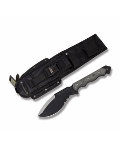 "Tops Cuma TAK-RI with Black Linen Micarta Handle and Black Traction Coated Carbon Steel 6.75"" Drop Point Partially Serrated Blade and Nylon Sheath Model CUMATK-02"