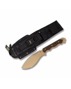 "Tops Cuma TAK-RI 3.5 with Green Rocky Mountain Tread Canvas Micarta Handle and Coyote Tan Coated 1095 Carbon Steel 6.875"" Drop Point Plain Edge Blade and Black Nylon Sheath Model CUMATK-3.5"