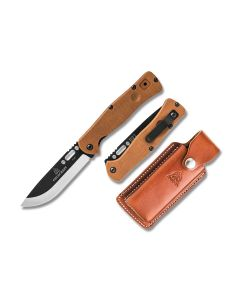 "TOPS Fieldcraft Linerlock 5.50"" with Tan Canvas Micarta Handle and Two Tone Cerakote 1095 Carbon Steel Blade Model FCF-01"