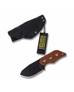 "Tops Lil Roughneck Fixed Blade Knife with Tan Canvas Micarta Handle and Black Traction Coated 5160 Carbon Steel 2.75"" Drop Point Plain Edge Blade and Black Kydex Sheath Model LRNK-01"