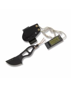 """Tops Mojo X2 Neck Knife with Black traction Coated 1095 Carbon Steel Skelotonized Handle and 2.00"""" Trailing Point Plain Edge Blade Model MOJO-X2"""