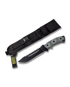 """Tops Steel Eagle Fixed Blade Knife with Black Linen Micarta Handle and Black Traction Coated 1095 Carbon Steel 7.439"""" Drop Point Plain Edge Blade and Black Ballistic Nylon Sheath Model SE107C"""