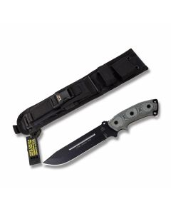 "Tops Steel Eagle 107E Fixed Blade Knife with Black Linen Micarta Handle and Black Traction Coated 1095 Carbon Steel 7.50"" Drop Point Plain Edge Blade and Black Nylon Sheath Model SE107E"