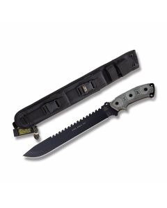 "TOPS Steel Eagle Fixed Blade Knife with Black Linen Micarta Handle and Black Traction Coated 1095 Carbon Steel 11"" Drop Point Blade Model SE111AHP"