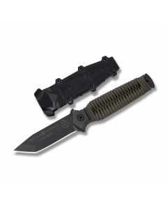 "Tops Wolf Hawk Fixed Blade Knife with Paracord Skeletonized Handle and Black Traction Coated 1095 Carbon Steel 3.25"" Tanto Point Plain Edge Blade and Molded Polymer Sheath Model WHK2PT"