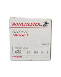 """Winchester Super Target 20 Gauge 2-3/4"""" 7/8oz Copper Plated Lead Shot 25 Rounds"""