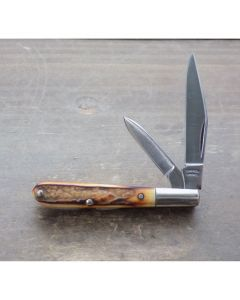 """Tuna Valley Tadpole 2.625"""" with Genuine India Burnt Stag Handles with 154CM Stainless Steel Plain Edge Blades"""