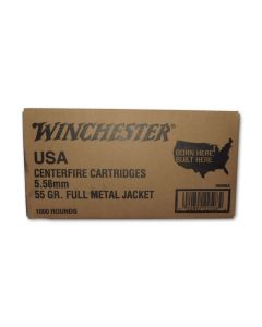Winchester USA 5.56 Nato 55 Grain Full Metal Jacket 1000 Rounds
