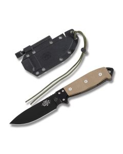 "Utica Cutlery Co UTK Survival Series Fixed Blade with Desert Sand Canvas Micarta Handles and Black Powder Coated 1095 Carbon Steel 5"" Drop Point Plain Edge Blades Model 11-UTKS5TH"