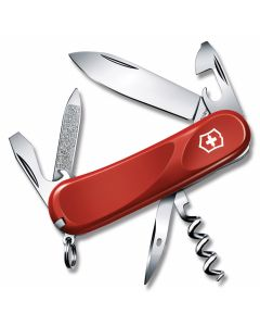 "Victorinox Swiss Army Delémont Collection Evolution 10 3.375"" with Red Composition Handle and Stainless Steel Blades and Tools Model 2.3803.EUS1"