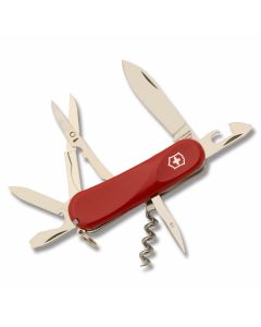 "Victorinox Delémont Collection Evolution S14 3.375"" with Red Composition Handle and Stainless Steel Blades and Tools Model 2.3903.SEUS1"