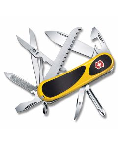 "Victorinox EvoGrip S18 3.375"" with Yellow and Black Composition Handle with Stainless Steel Blades and Tools Model 2.4913.SC8"