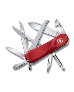 """Victorinox Delémont Evolution 18 3.375"""" with Red Composition Handle and Stainless Steel Blade and Tools Model 2.4913.EUS2"""