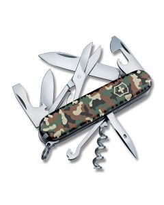 "Victorinox Swiss Army Climber 3.50"" with Camo Composition Handles and Stainless Steel Plain Edge Blades and Tools Model 1.3703.94US2"
