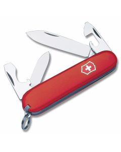 "Victorinox Swiss Army Recruit 3.313"" with Red Composition Handle and Stainless Steel Blades and Tools Model 5002R"