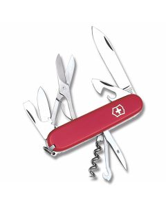 "Victorinox Swiss Army Climber 3.625"" with Red Composition Handle and Stainless Steel Blades and Tools Model 5004R"