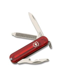 "Victorinox Rally 2.313"" with Translucent Ruby Composition Handle and Stainless Steel Blades and Tools Model 51021"