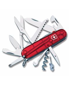 """Victorinox Swiss Army Huntsman Lite 3.625"""" with Translucent Ruby Composition Handle and Stainless Steel Blades and Tools Model 53271"""
