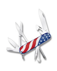 """Victorinox Swiss Army Super Tinker 3.625"""" with USA Flag Print Composition Handle and Stainless Steel Blades and Tools Model 53342"""