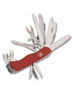 "Victorinox Swiss Army WorkChamp XL 4.439"" with Red Composition Handle and Stainless Steel Blades and Tools Model 53771"