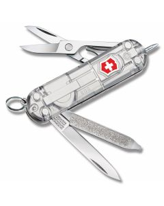 "Victorinox Swiss Army Signature Lite Silver Tech 2.313"" with Translucent Silver Composition Handle and Stainless Steel Blades and Tools Model 54752"
