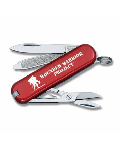 "Victorinox Swiss Army Knives Wounded Warrior Project Classic SD 2"" with Red Celidor Handles and Stainless Steel Blades Model 55069.US2"