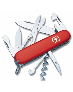 "Victorinox Swiss Army Climber 3.625"" with Red Composition Handle and Stainless Steel Blades and Tools with Black Clip Pouch Model 55381"