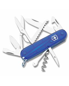 """Victorinox Swiss Army Huntsman 3.625"""" with Translucent Sapphire Composition Handle and Stainless Steel Blades and Tools Model 56206"""